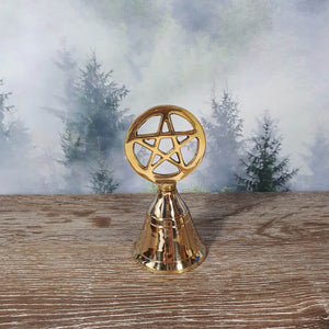 Pentacle Handle Brass Altar Bell