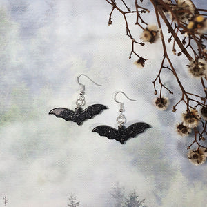 Resin Bat Earrings - Black