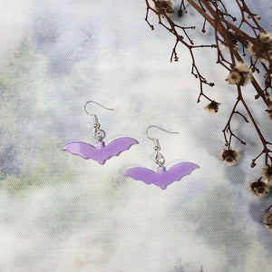 Resin Bat Earrings - Purple