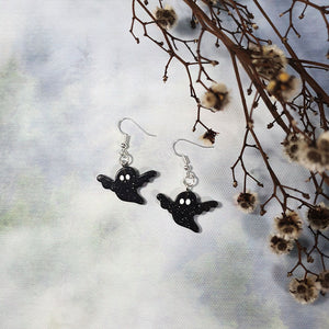 Resin Ghost Earrings - Black