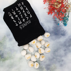 White Agate Runes Set