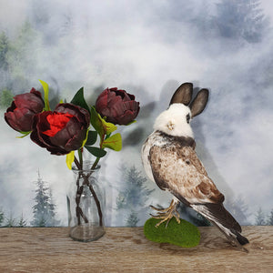 Rogue Taxidermy Brown and White Bunny Bird - Wings Down