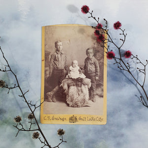 Three Siblings With Fur Rug Cabinet Card