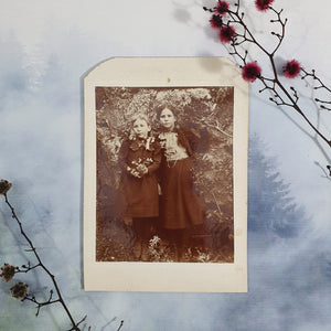 Two Girls Outside In Nature Cabinet Card