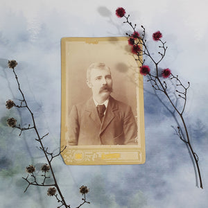 Wistful Man With Large Moustache Cabinet Card