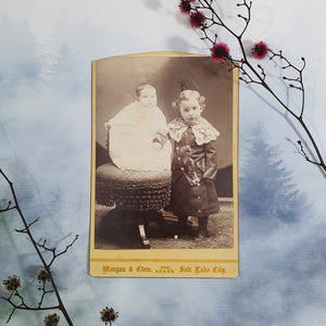 Young Child And Baby Sibling Cabinet Card