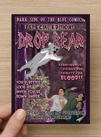 Drop Bear Postcard or Magnet by Bowie Bunny, Blue Mountains