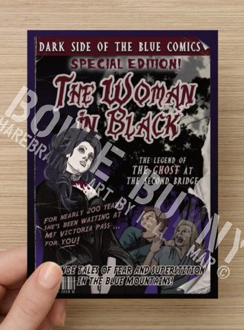 Woman in Black Postcard or Magnet by Bowie Bunny, Blue Mountains