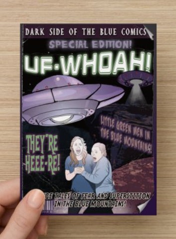 UFO Postcard or Magnet by Bowie Bunny, Blue Mountains