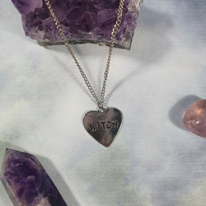 Silver Tone Witch Heart Necklace