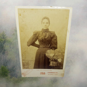 Standing Lady with Basket in Mourning Tintype