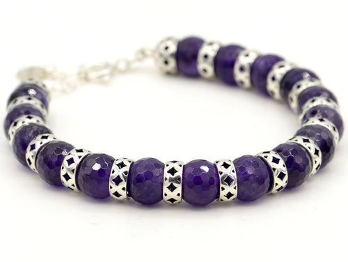 Silver and amethyst bracelet. Ethnic Arabesque design