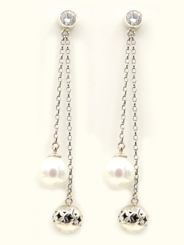 Sterling silver, ethnic arabesque beads and pearl earrings