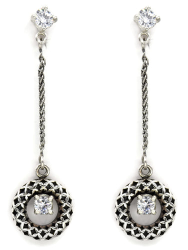 Sterling Silver Arabesque Design Earrings With A Cubic Zircon