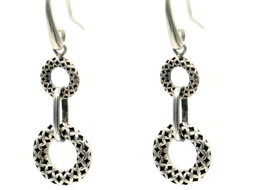 Sterling Silver Arabesque Design Hoop Earrings