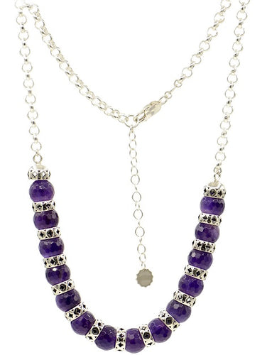 Silver Arabesque style beads necklace with Amethyst