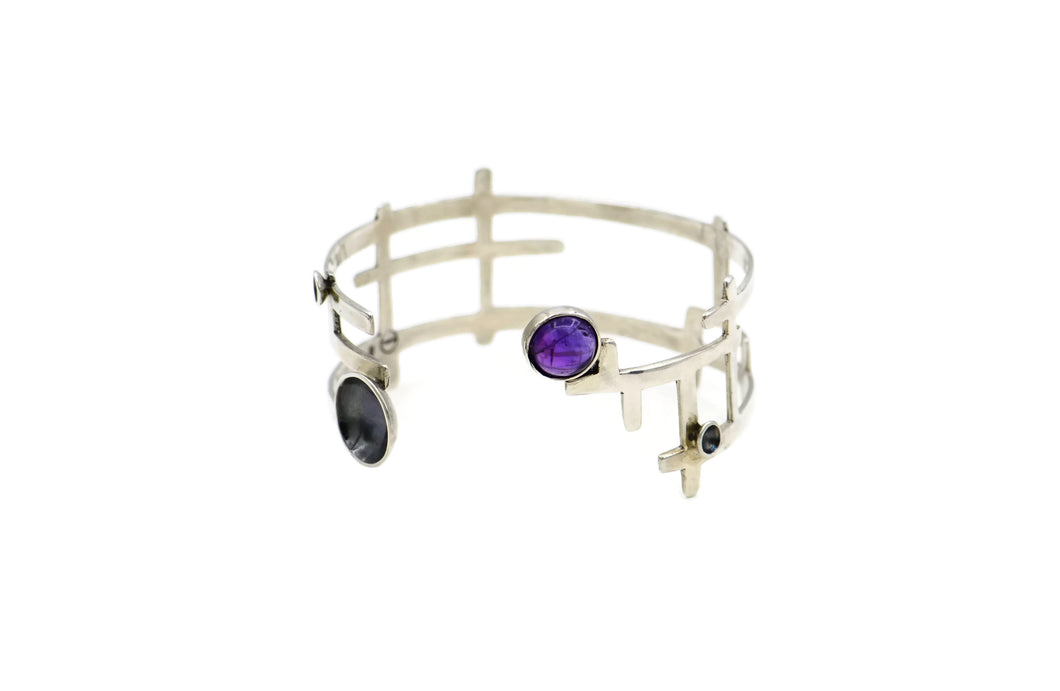 Sterling silver geometric shaped bracelet with semi-precious stones