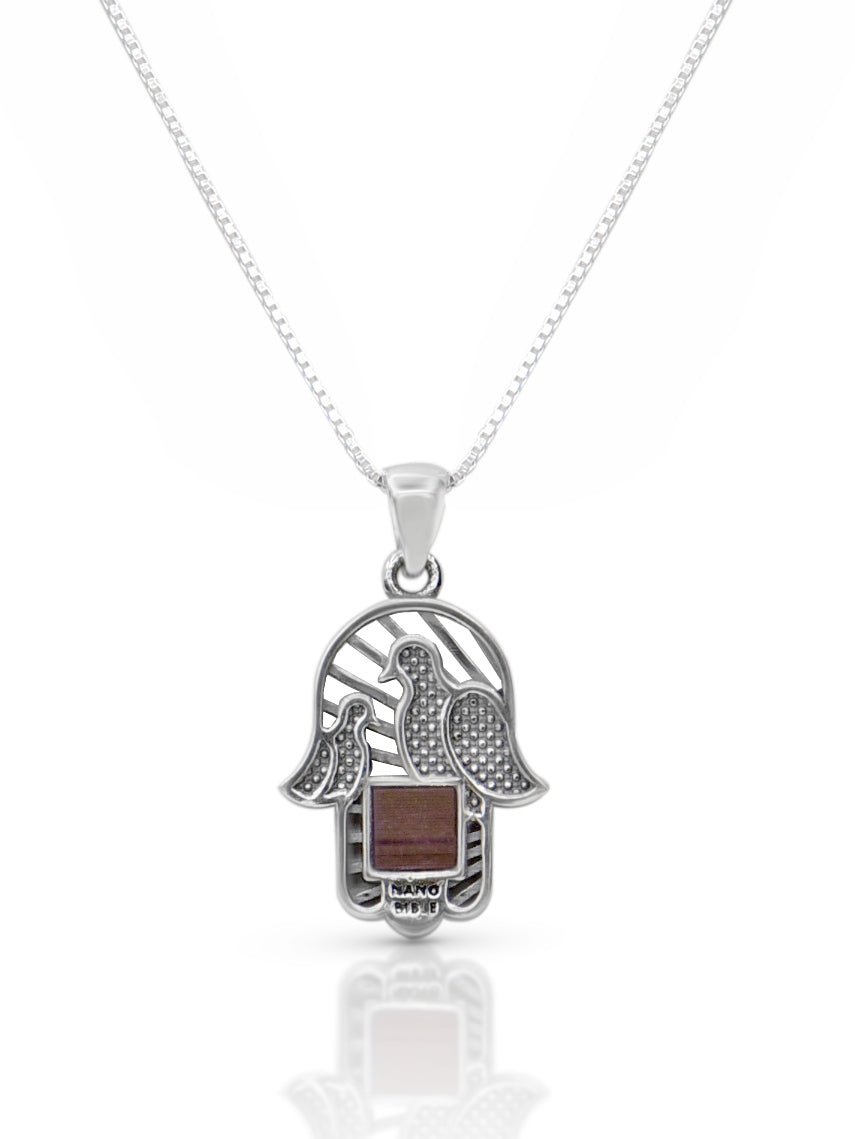 Hamsa Silver Necklace with Doves and Nano Bible