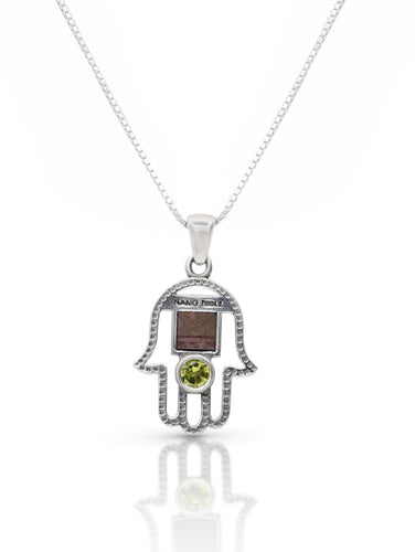 Hamsa Silver Necklace, Nano Bible with a Coloured Stone