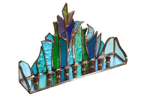 Stained-glass Menorah/Hanukkiah