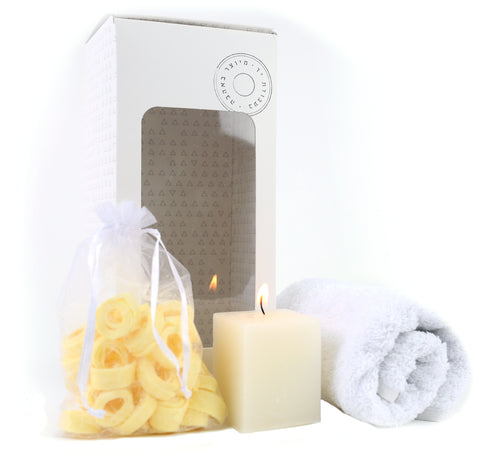 spa set, face towel, candle, soap curls,  scented soap
