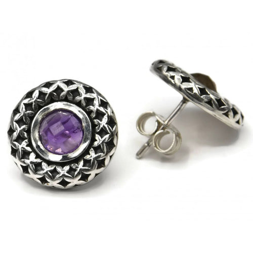 Silver Stud Earrings with Semi Precious Stone