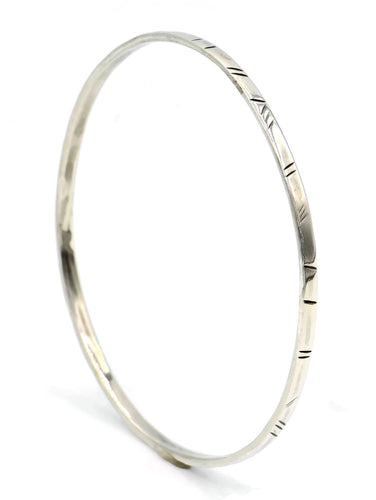 sterling silver thin bangle with ethnic etchings