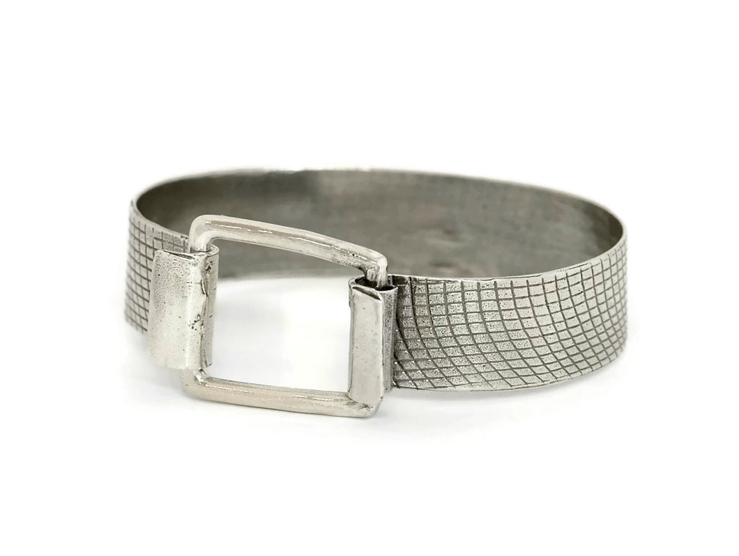 Sterling Silver Textured Bracelet  With A Square Clasp
