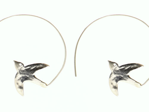 Sterling Silver Dove Hoop Earrings