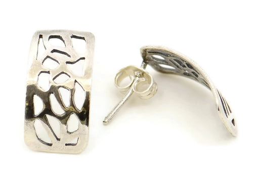 Sterling silver earrings with a leaf design
