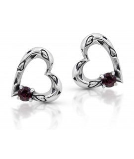 Heart shaped earrings combined with semi-precious stones