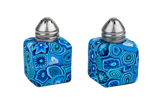 Mini Salt And Pepper Pots Set Decorated With Fimo - Square