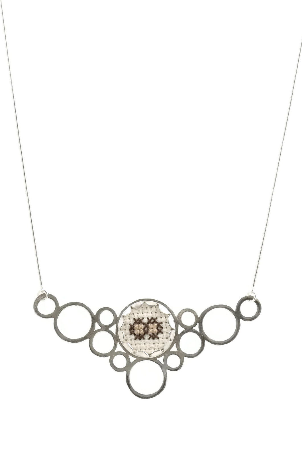 Sterling silver necklace - circles and traditional Arabic embroidery