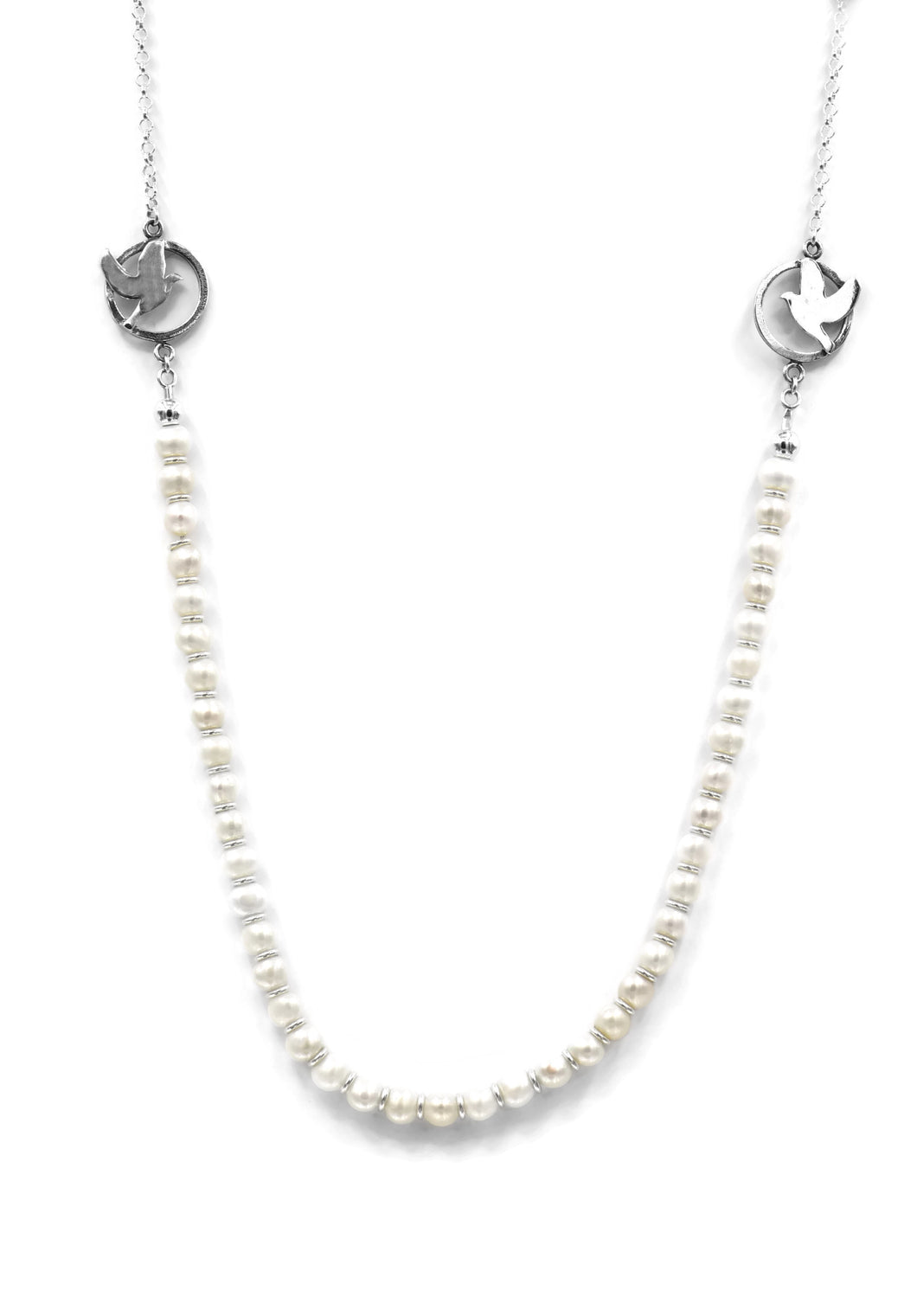 Sterling Silver Necklace With Pearls And Doves