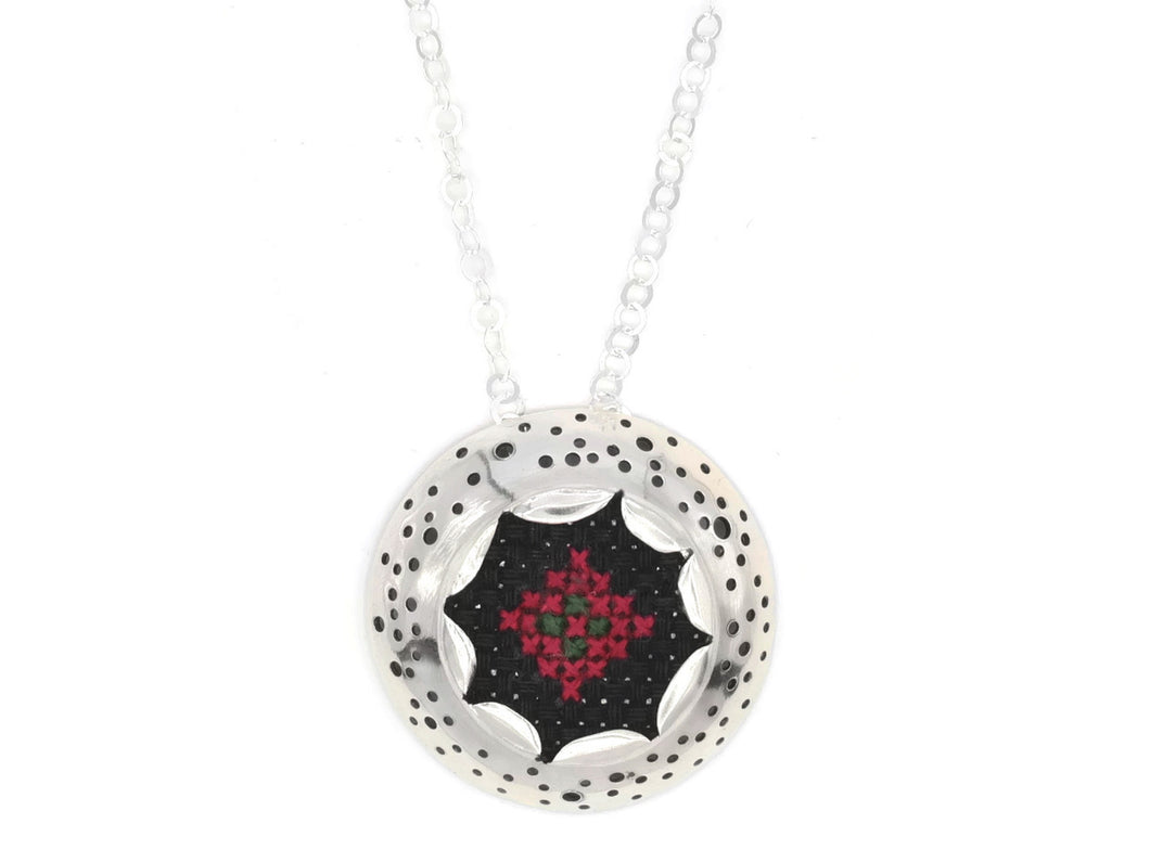 Sterling Silver Necklace and traditional Arabic embroidery