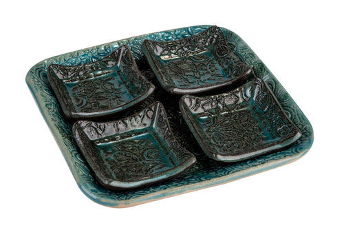 Ceramic Tray With Four Small Dishes