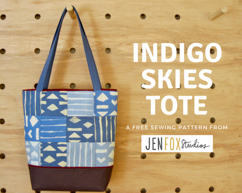 Indigo Skies Tote - free sewing pattern from Jen Fox Studios