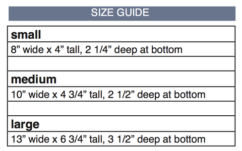 Kinley Pouch size chart