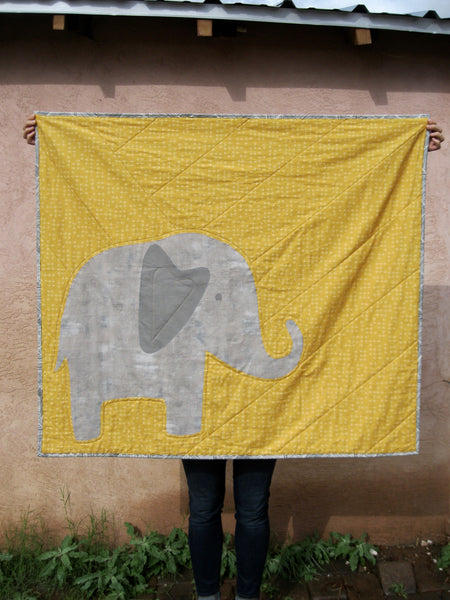 Ellie Elephant Applique Baby Quilt - PDF