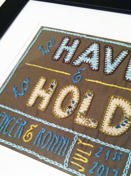 to Have & to Hold Embroidery Pattern - PDF