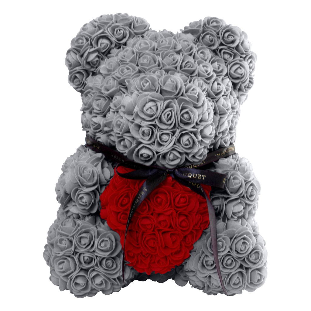 Grey Heart Luxe Rose Bear - 40 cm