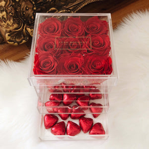 Petite Acryl Box With Heart Chocolates (Sydney Only)
