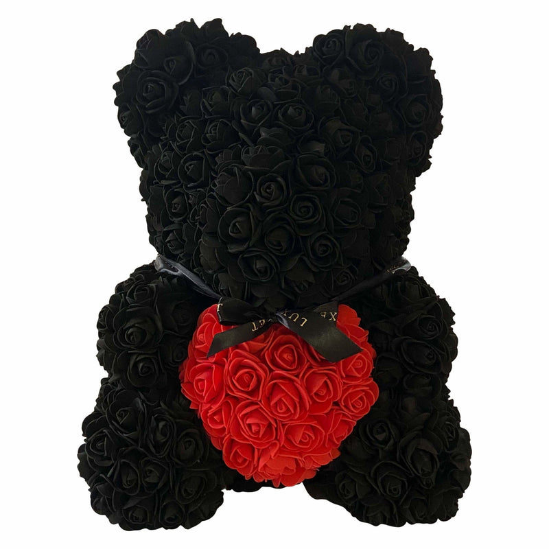 Black Heart Luxe Rose Bear - 40cm - Luxe Bouquet roses that last a year