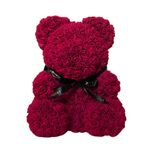 Burgundy Luxe Rose Bear - 40 cm - Luxe Bouquet roses that last a year