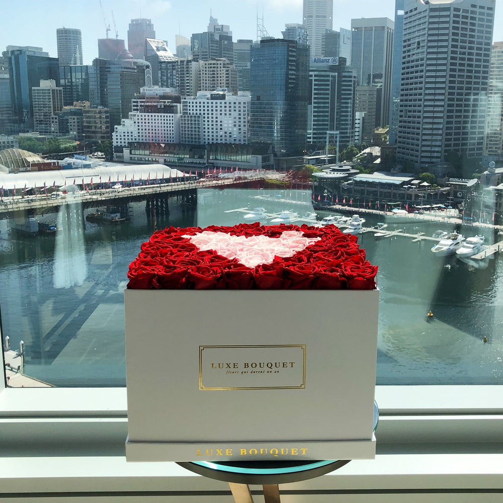 Everlasting Heart Box - Luxe Bouquet roses that last a year