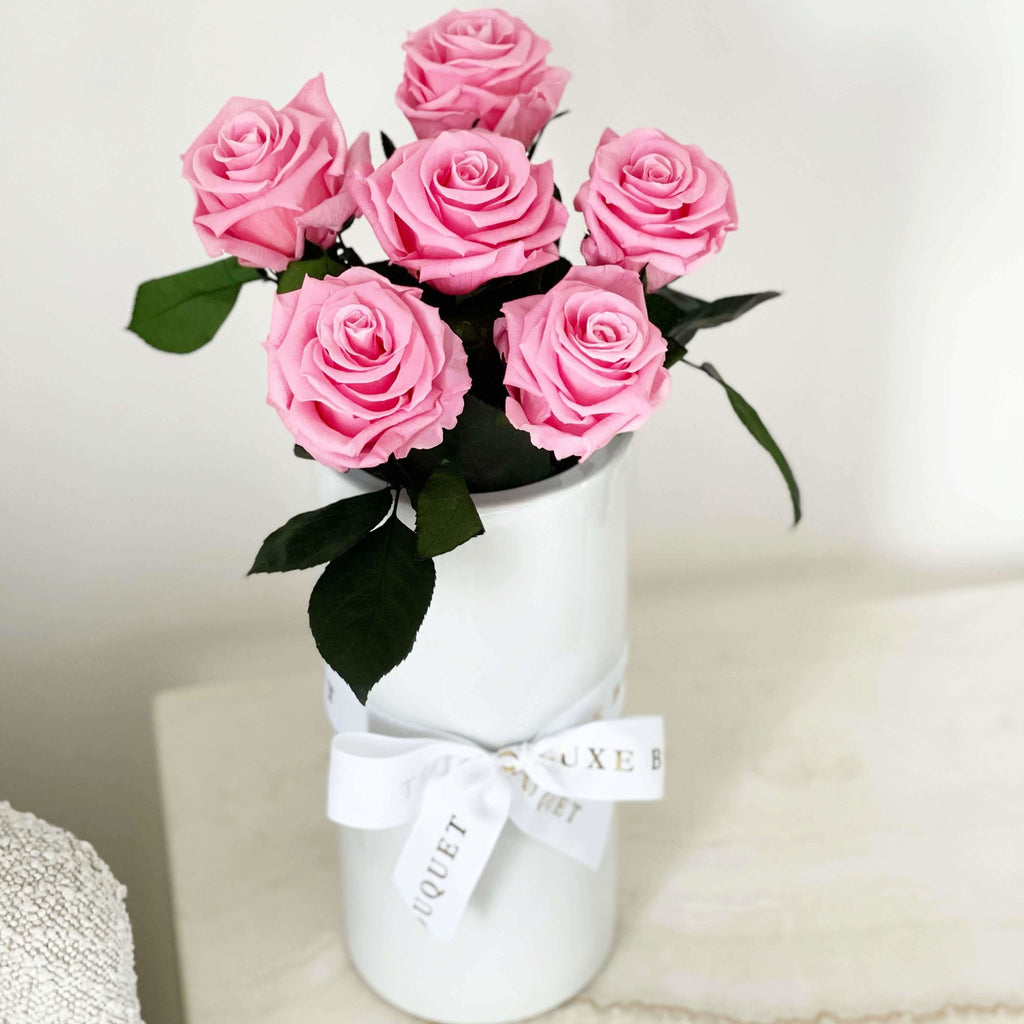 Forever Long Stemmed Roses in Vase - Hot Pink (Sydney Only) - LUXE BOUQUET roses that last a year