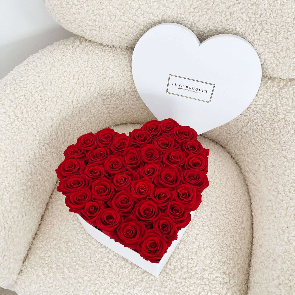 Forever Love Heart Box - Luxe Bouquet roses that last a year