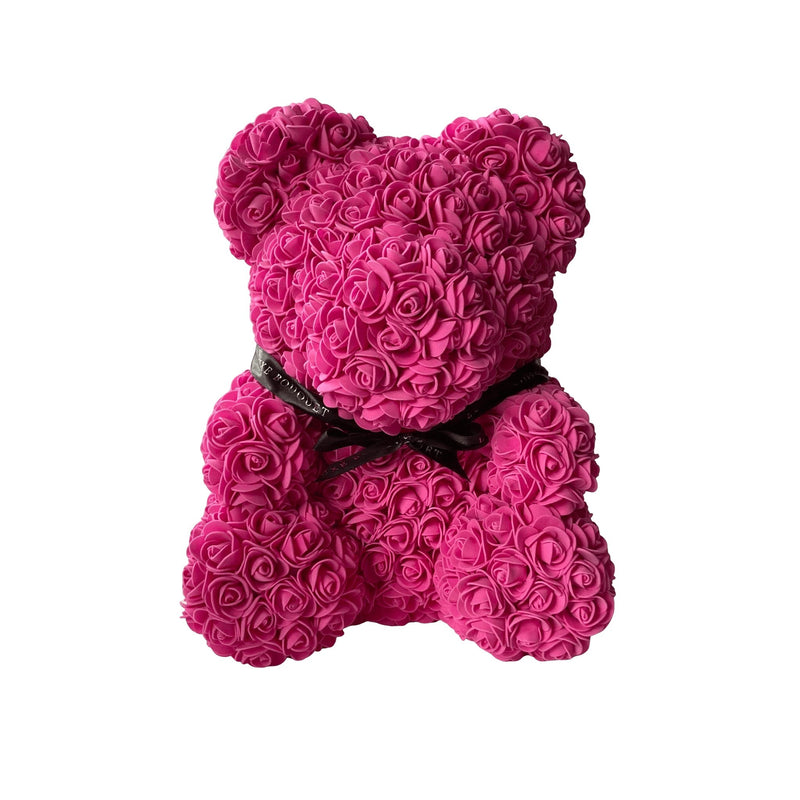 Fuchsia Heart Luxe Rose Bear - 40cm - Luxe Bouquet roses that last a year