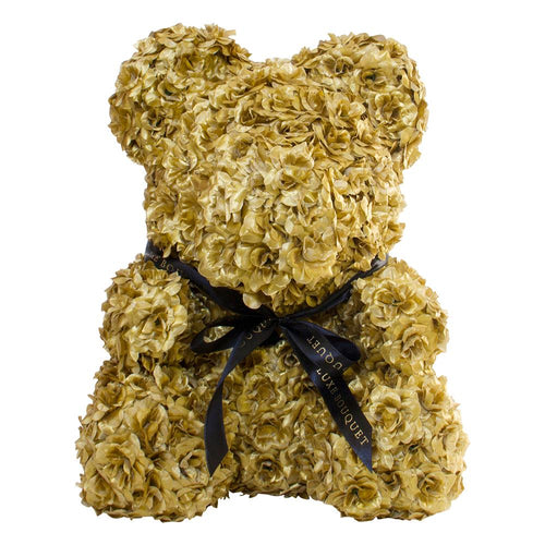 Gold Luxe Rose Bear - 40 cm - Luxe Bouquet roses that last a year