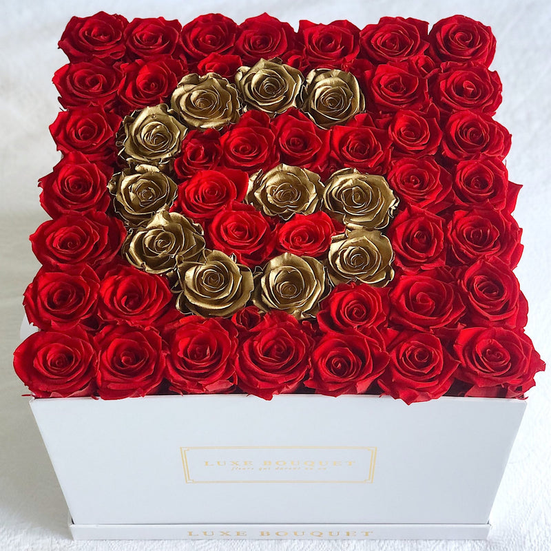 Grand Everlasting Letter Box - Gold - Luxe Bouquet roses that last a year